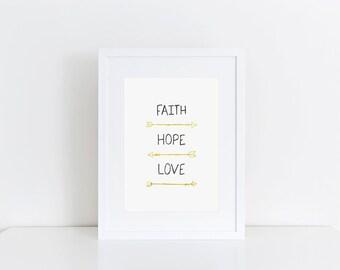 Faith, Hope, Love with Arrows Print