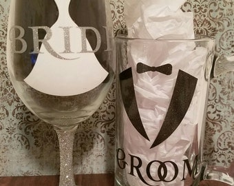 Bride & Groom wine glass and  beer mug set.