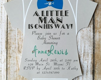 Set of 10 printed Baby Shower Onesie Little Man-Onesie Shaped Bow Tie Shower Invitation-Baby Boy Invitation -Little Man Shower- Baby Shower