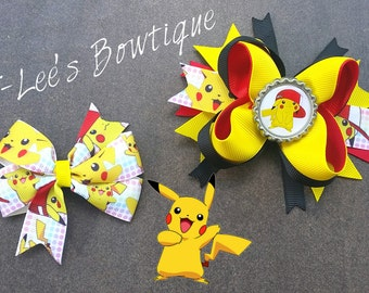 Pokemon - Pikachu Inspired Boutique Hair Bows