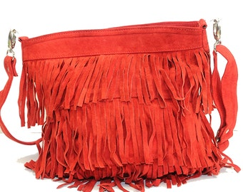 80's Boho Style Suede Fringe Bag (Red)