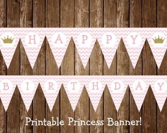 Princess Birthday Banner, Princess Birthday, Princess Party Banner, Princess Party, Pink and Gold Party Decorations, INSTANT DOWNLOAD