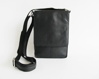 90s • Vintage • Leather Bag • Crossbody Bag • Patchwork Bag • Bag • Black Shoulder Bag • Black Bag • Shoulderbag • Shoulder Bag • Hipster