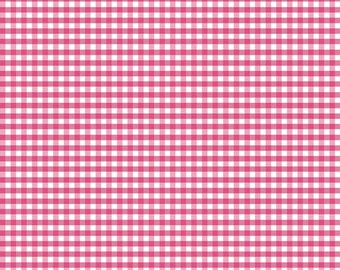 Hot Pink Small Gingham Fabric - 1/8 Inch Gingham c440 70 Hot Pink Quilting Cotton by the Yard - Childrens Fabric - Sewing Projects