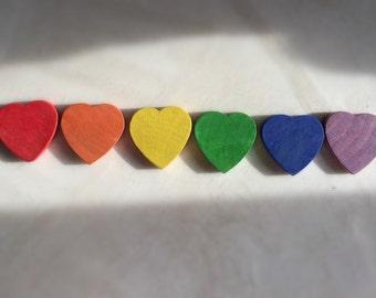 wood hearts, rainbow colored, waldorf, montessori, reggio amelia, open ended play, sensory, color matching toy