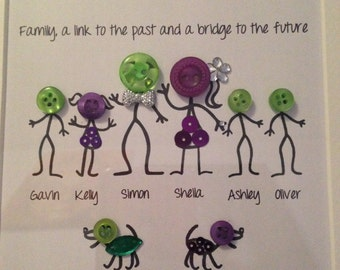 Personalised Button Family Frame Ideal for Gifts
