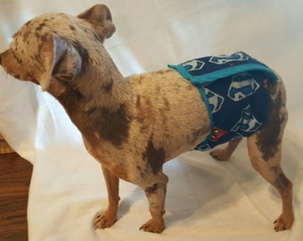 Hand sewn Piddle protection diaper, small male dogs. Soft, absorbent material, Adjustable size, made to order, Embroidery available