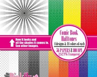 Comic Book Halftones Transparent Digital Paper, Comic spots Scrapbooking paper