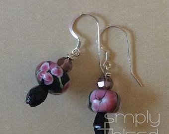 Dark Floral Earrings