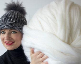Chunky knit hat, pompom hat, wool hat, merino wool, Grey hat, Knitted hat, knit hat, winter hat, winter headband, chunky knit, unspun wool