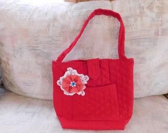 Red handmade handbag