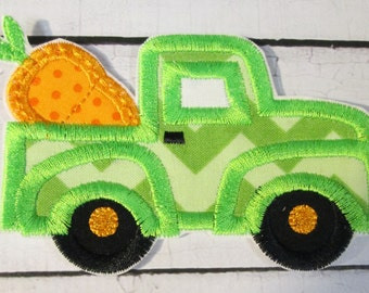 Ready To Ship in 1-3 Business Days  Easter Carrot Truck - Iron On or Sew On Embroidered Applique