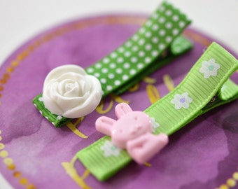 Baby hair clip, Toddler hair clip set, Rose hair barrette, Bunny hair clip, Hair clip set