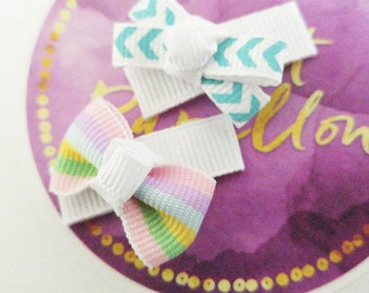 Baby Hair Barrettes - Tiny Bow Hair Clip Baby Girls - Pink Blue Baby Barrettes - Set of 2