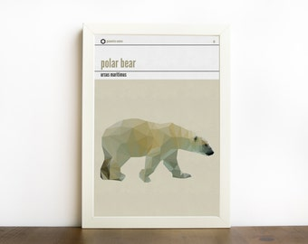 Polar bear nursery print, nursery decor, geometric polar bear print, arctic animal print, modern minimal print, room decor, polygonal bear