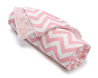 Pink Chevron Minky Receiving Blanket | Faux Fur Baby Blanket