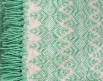 Vintage Swedish Weaving Huck Weaving Monks Cloth Blanket// Lap Throw, 373F
