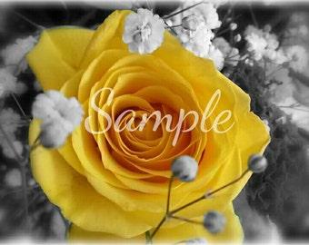 "Linen Canvas ""Yellow Rose"" Size 30 x 20cm"