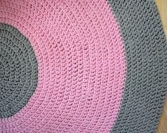 Pink&gray crochet carpet. For children.