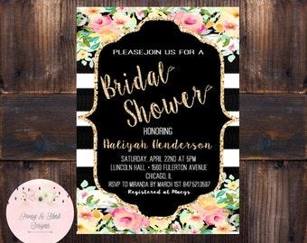 Bridal Shower Invitation, Gold Bridal Shower Invite, Black And White Floral Invitation, Printable-DIGITAL
