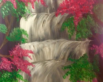 Waterfall acrylic painting
