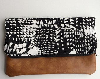 Black and White with Vegan Leather Fold Over Clutch