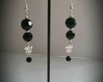 Women's Jet Black Crystal Beads Dangling Earrings