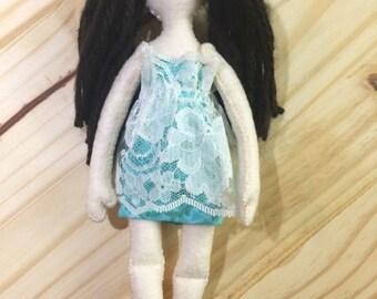 Sweet Felt Brunnette Doll with pigtails/Emily