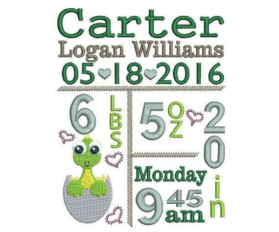 Birth Announcement Template Embroidery Design By