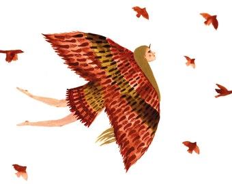 Hand Drawn Illustration, Print 30x40cm, Birdlady, Poster, Art Print