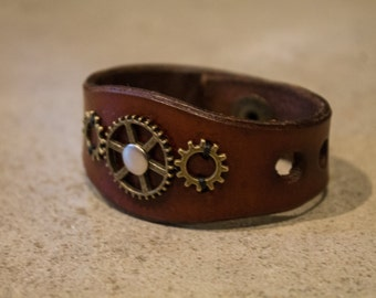 Steampunk Inspired Leather Bracelet