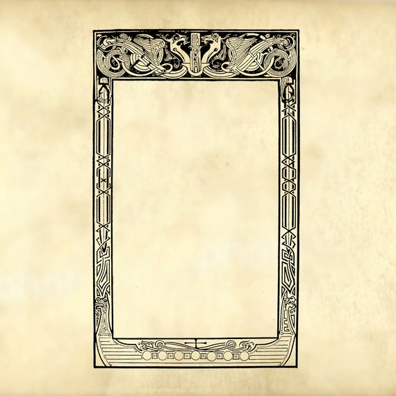 I Designed A Vintage Looking Border Art For You To Use In: Tales From The North Viking Style Ornamental Dragon Frame