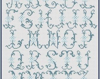Alphabet Monogram Cross Stitch Pattern Vintage Cross Stitch ABC Chart PDF Cross Stitch Pattern Downloadable