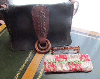 Glasses Pouch, Handmade French General fabric, Ribbon Embroidery