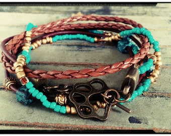 SALE* Teal & Gold Jaguar Paw Wrap Bracelet - Leather//Braided Leather//Beade Cord - Bronze Paw Charm Toggle -Jacksonville Jags/Football/Boho