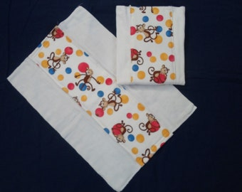 Set of Burp Cloths with Monkeys