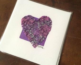 Blank Hand-Made Card - 'Purple Heart' - Greeting Card, Birthday Card