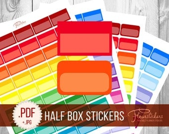 Quarter box printable planner sticker stitched blank round for Half page sticker labels
