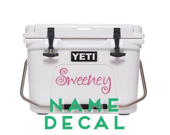 Large Name Decal Sticker | Cooler Decal | Yeti Decal | 30 Colors