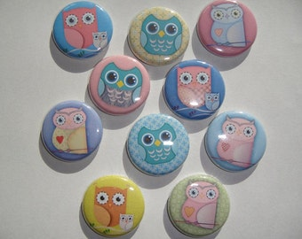 Owls Buttons Set of 20 - 2 of Each