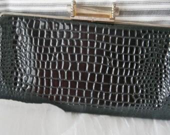Vintage Black Faux Crocodile Clutch/Purse