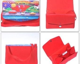 Red crossbody bag-Cute bag-Printed  bag-small bag-Canvas bag-messenger bag-handbag-canvas purse-ready to ship