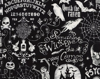 Chalkboard Halloween Words Fabric by Timeless Treasures Scary Halloween Words Fabric Gothic Fabric Halloween Fabric by the yard