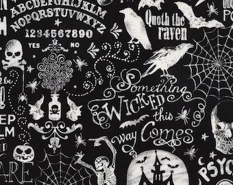 Chalkboard Halloween Words Fabric by Timeless Treasures Scary Halloween Words Fabric Gothic Fabric Halloween Fabric by the yard
