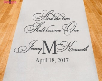 Two Shall Become One Wedding Aisle Runner - Personalized Runner - Plain White Aisle Runner (ppd27)