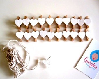 DIY wooden peg bunting - Bright-heart-Wooden-Clips-Pegs- -Wood-Pegs-Kids-Crafts-Party-Favor, peg garland photo/picture holder, nursery decor