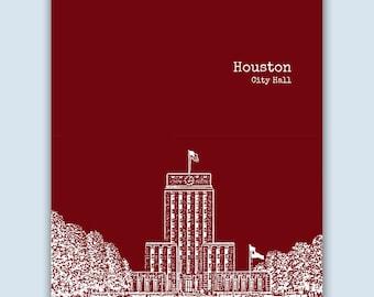 Houston Print, Houston Wall Art, Houston Skyline, Wedding Gift, Houston Art Print,  Houston Colorado Art,  Houston Poster,  Houston Decor