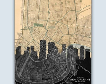 New Orleans Skyline, New Orleans Art, New Orleans Map, New Orleans Poster, New Orleans  Print, Personalized Skyline Print, Wedding Gift