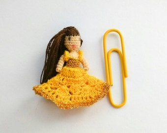 Micro Amigurumi Doll Belle from Beauty and the Beast. Micro amigurumi Disney princess Belle. Micro crochet doll Belle. Tiny crochet dolls.