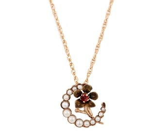 Yellow Gold Pearl & Garnet Crescent Necklace
